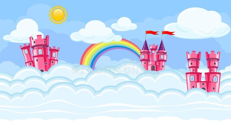 与桃红色城堡的无缝的编辑可能的神圣cloudscape游戏设计的 库存例证