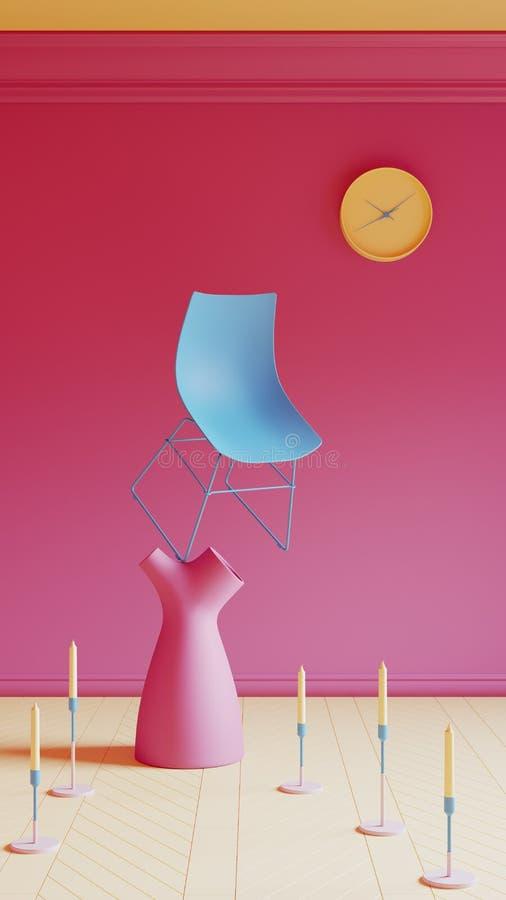 与桃红色墙壁的蓝色椅子 免版税库存照片