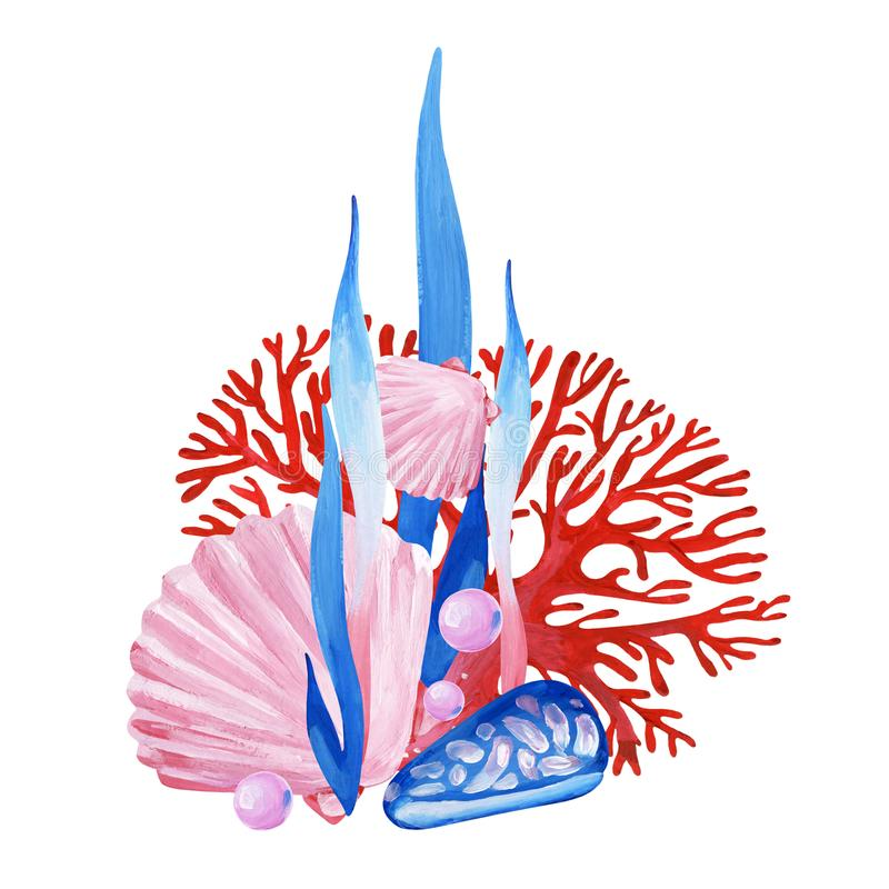 与桃红色壳,红珊瑚,蓝色壳,aglae的手画clipart 库存例证