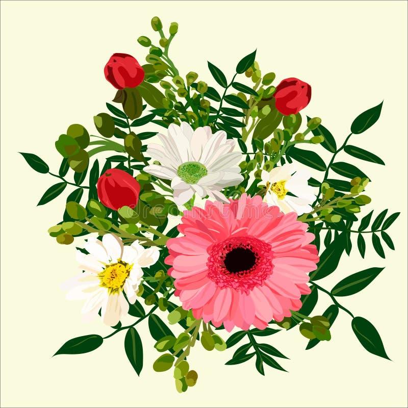与桃红色大丁草的花花束 免版税库存图片