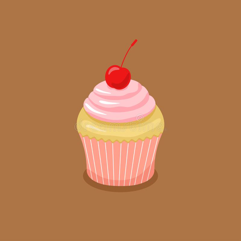 与桃红色奶油和樱桃的蛋糕 向量例证