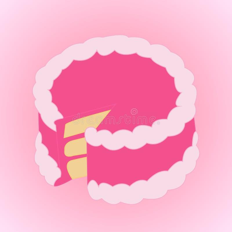 与桃红色奶油的蛋糕 向量例证