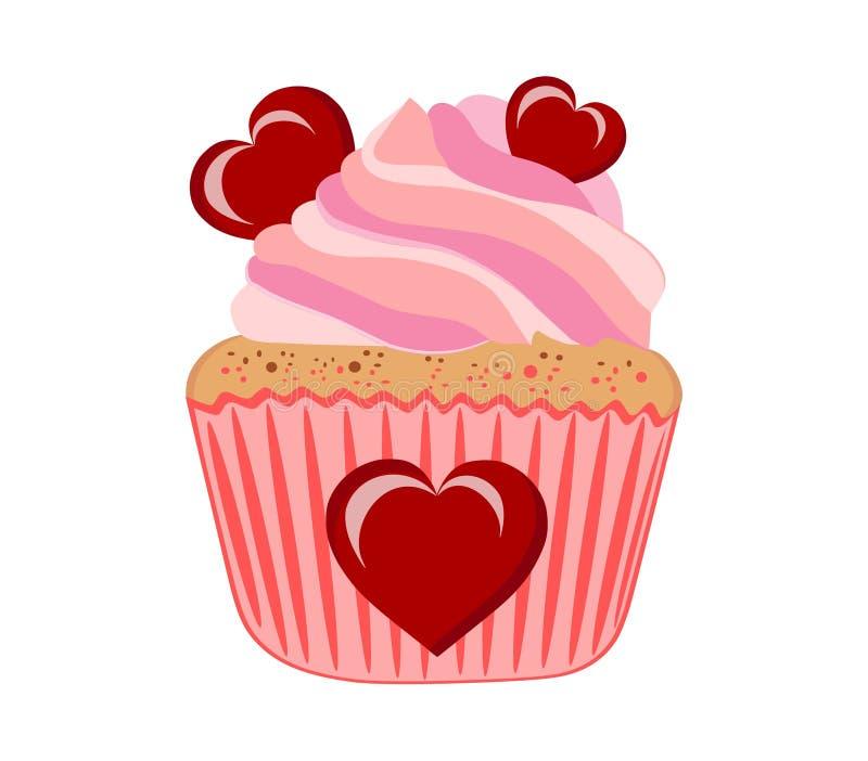 与桃红色奶油的蛋糕 皇族释放例证