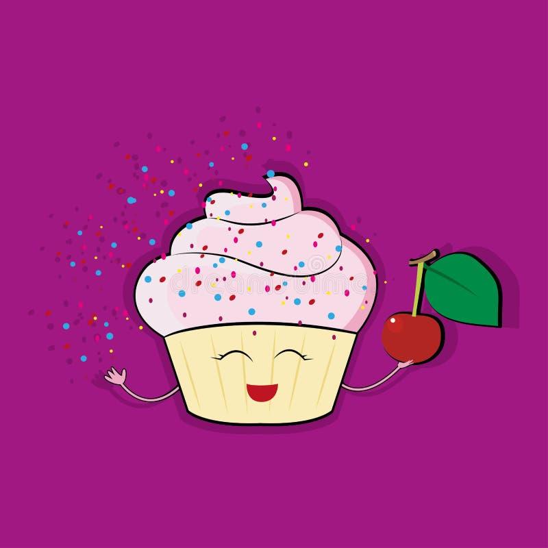 与桃红色奶油色顶部,动画片样式在白色背景隔绝的传染媒介例证的滑稽的杯形蛋糕字符 库存例证