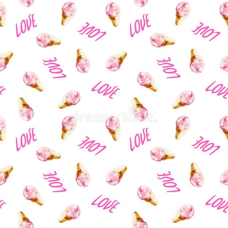 与桃红色字法`爱`和冰淇凌,手拉的样式例证的水彩无缝的样式 库存例证