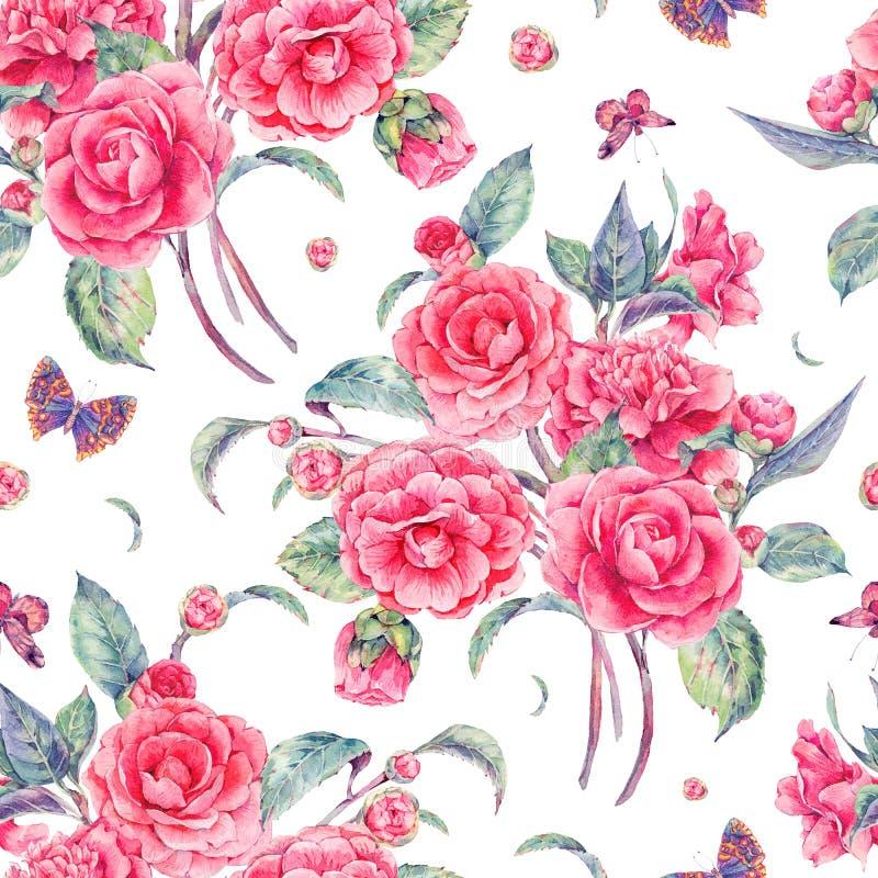 与桃红色山茶花的水彩无缝的样式图片