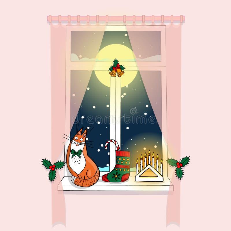 与桃红色帷幕,满月和黑暗蓝色的舒适桃红色室窗口 向量例证