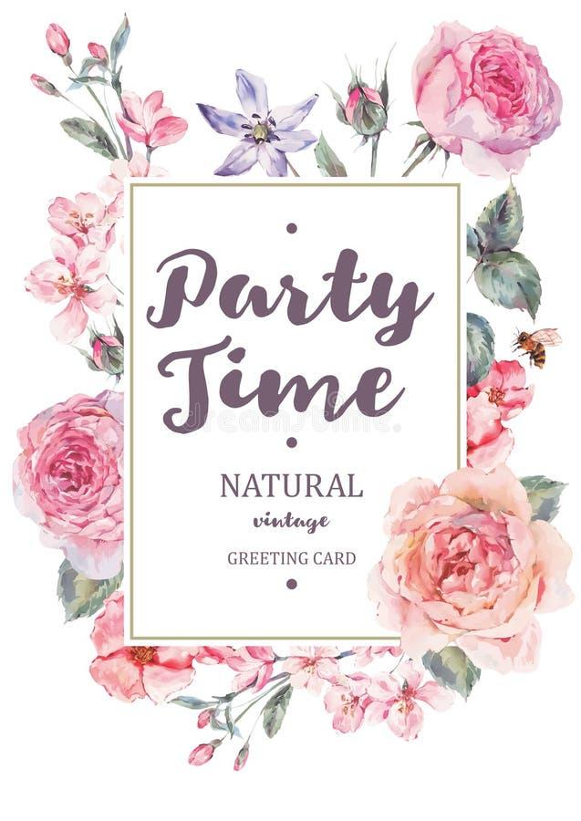 与桃红色开花的英国玫瑰的垂直的框架传染媒介卡片 库存例证