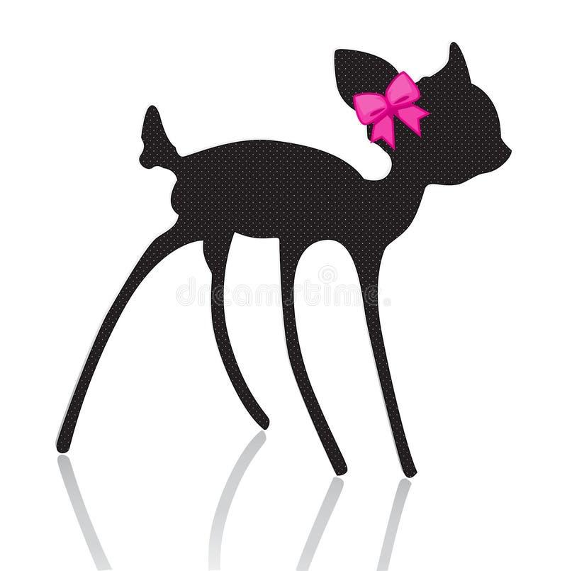 与桃红色弓丝带的Bambi剪影 向量例证