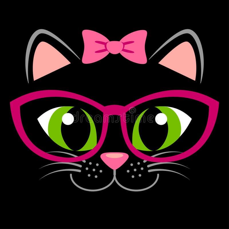 与桃红色弓和玻璃的逗人喜爱的黑小猫 与全部赌注的少女印刷品T恤杉的 库存例证