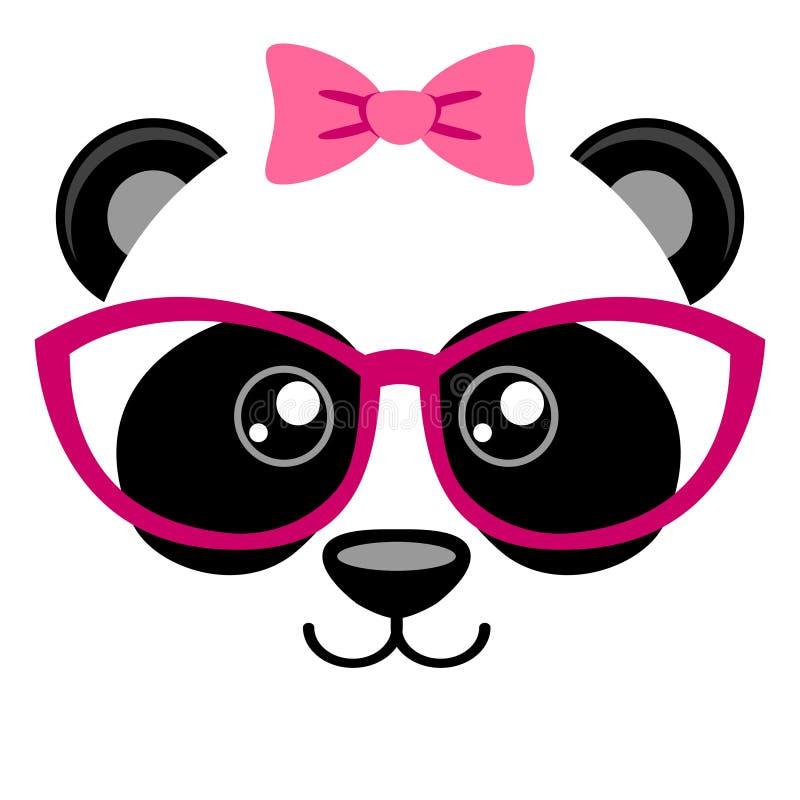 与桃红色弓和玻璃的逗人喜爱的熊猫 与中国人熊的少女印刷品T恤杉的 向量例证