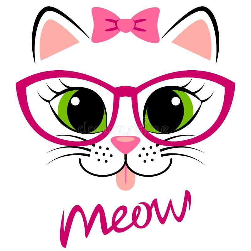 与桃红色弓和玻璃的逗人喜爱的白色小猫 与全部赌注的少女印刷品T恤杉的 库存例证