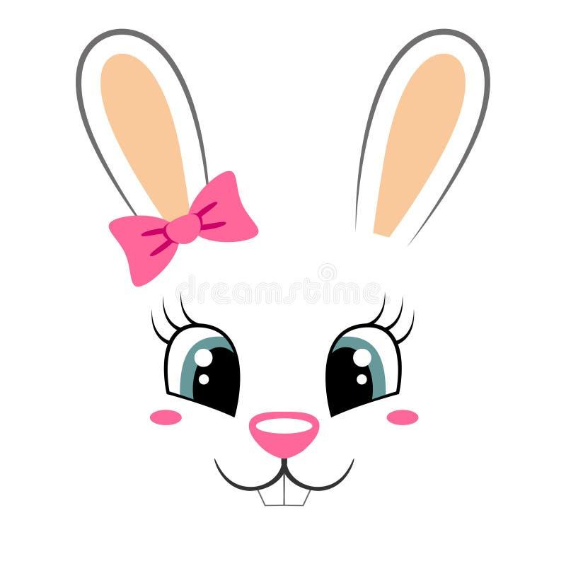 与桃红色弓的逗人喜爱的兔宝宝 与兔子面孔的少女印刷品T恤杉的 向量例证