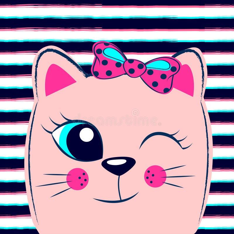 与桃红色弓的逗人喜爱的桃红色小猫在镶边背景 与全部赌注的少女印刷品T恤杉的 库存例证