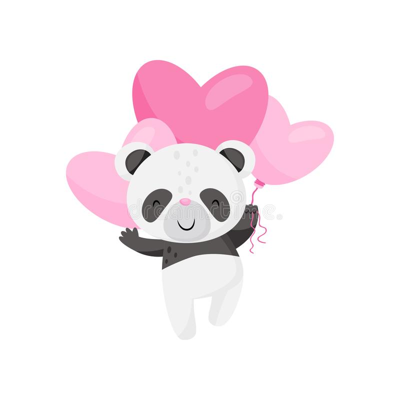 与桃红色心形的气球的逗人喜爱的小熊猫飞行 滑稽的黑白竹熊 平的传染媒介设计 库存例证