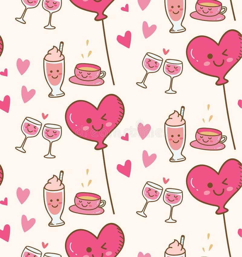 与桃红色心脏气球的各种各样的饮料在kawaii背景中 库存例证