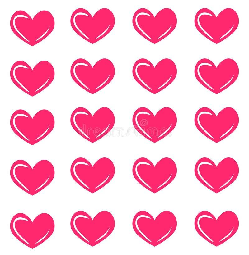 与桃红色心脏的传染媒介无缝的样式 心脏印刷品 时尚纹理 皇族释放例证