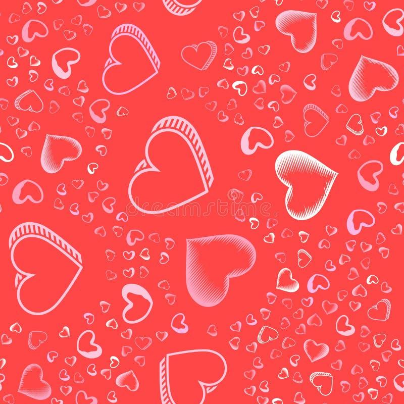 与桃红色心脏的情人节无缝的样式为背景、卡片或者封皮喷洒了 库存例证