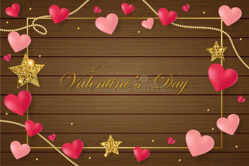 与桃红色心脏的愉快的圣徒情人节卡片在棕色木背景 库存例证