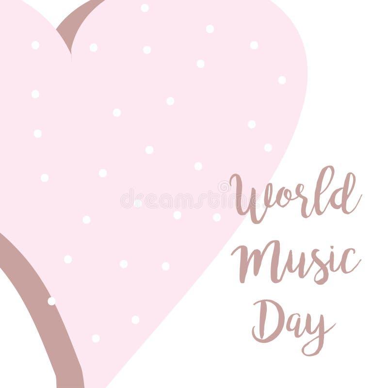 与桃红色心脏的手拉的世界音乐天印刷术字法海报 在白色背景的庆祝行情 皇族释放例证