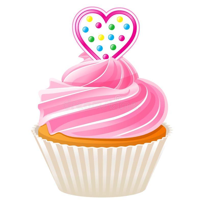 与桃红色心脏的杯形蛋糕 向量例证