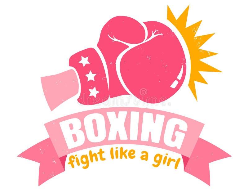 与桃红色手套和丝带的女孩拳击 向量例证