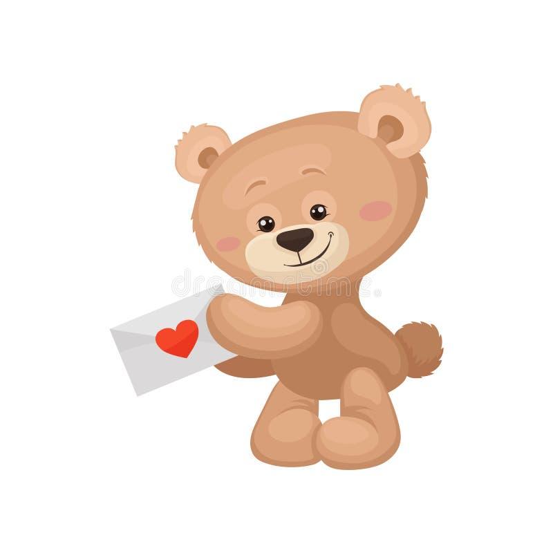 与桃红色拿着与红色心脏的面颊和发光的眼睛的逗人喜爱的棕色玩具熊爱邮件 海报的平的传染媒介或 库存例证