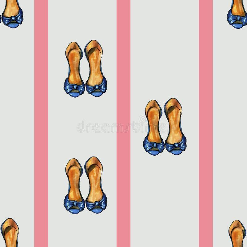 与桃红色条纹和妇女鞋子艺术的Gretro灰色样式 库存例证