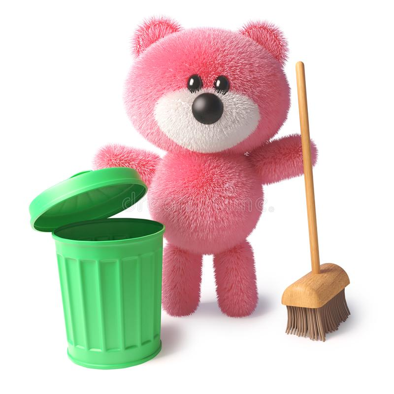 与桃红色毛皮的干净的玩具熊字符使用笤帚和垃圾箱清扫,3d例证 向量例证