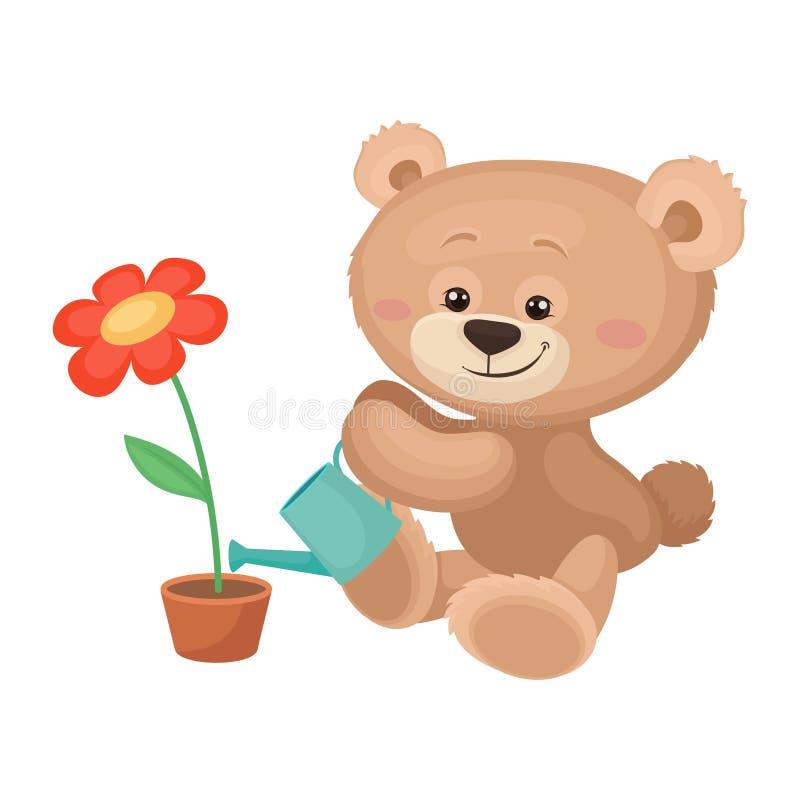 与桃红色浇灌开花的花的面颊和发光的眼睛的逗人喜爱的玩具熊 长毛绒儿童玩具 平的传染媒介象 库存例证