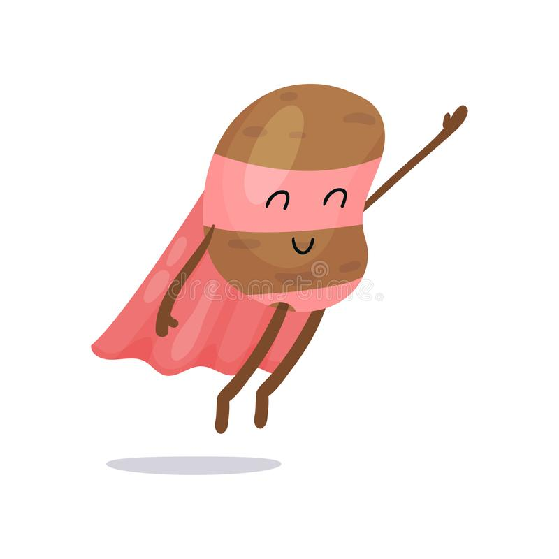 与桃红色海角、飞行用手的面具和裤子的动画片土豆超级英雄平的字符 向量例证
