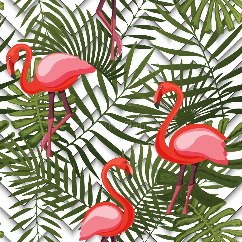 与桃红色火鸟和棕榈叶的热带现代无缝的样式在几何 库存例证