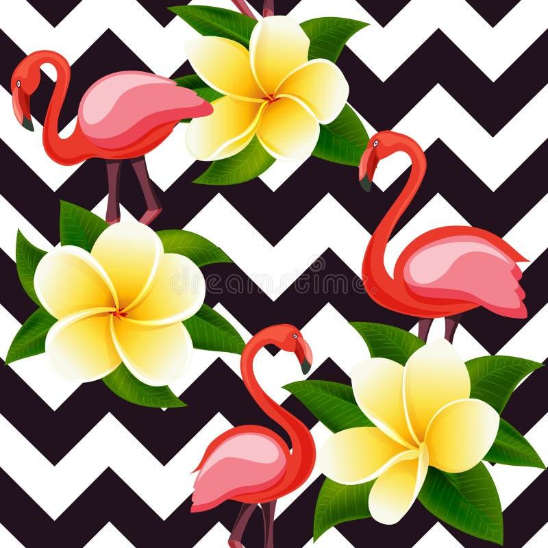 与桃红色火鸟和花的热带现代无缝的样式在几何 向量例证