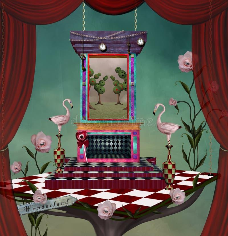 与桃红色火鸟的妙境超现实的阶段 皇族释放例证
