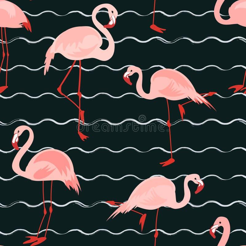 与桃红色火鸟的无缝的样式 向量例证