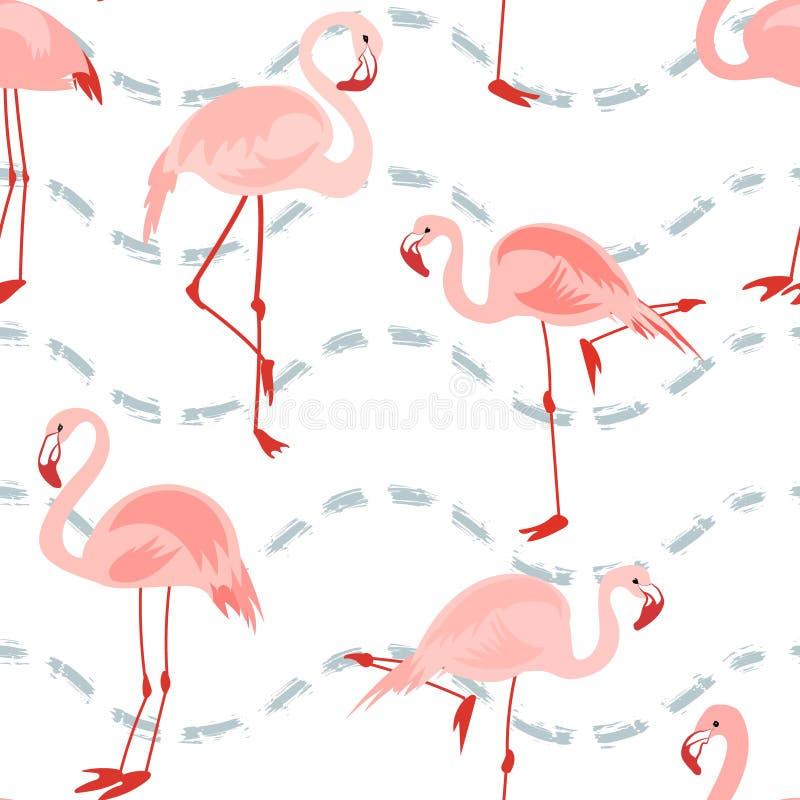 与桃红色火鸟的无缝的样式 皇族释放例证