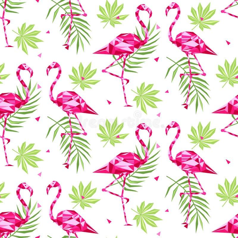 与桃红色火鸟的热带时髦无缝的样式和棕榈叶 夏天,异乎寻常的夏威夷艺术背景,孟菲斯 皇族释放例证