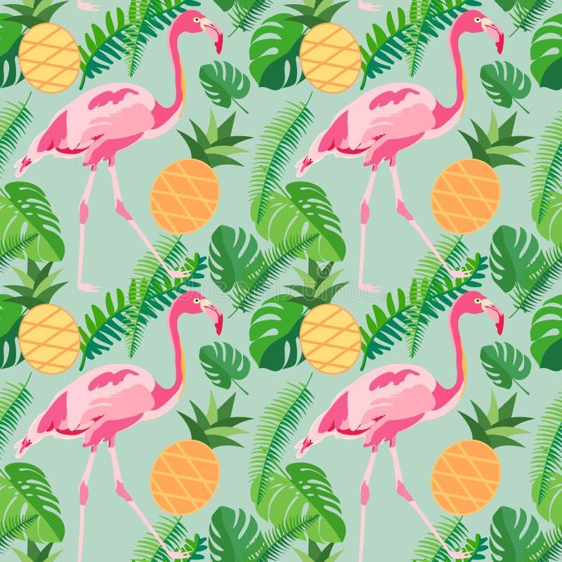 与桃红色火鸟,菠萝的热带时髦无缝的样式 向量例证