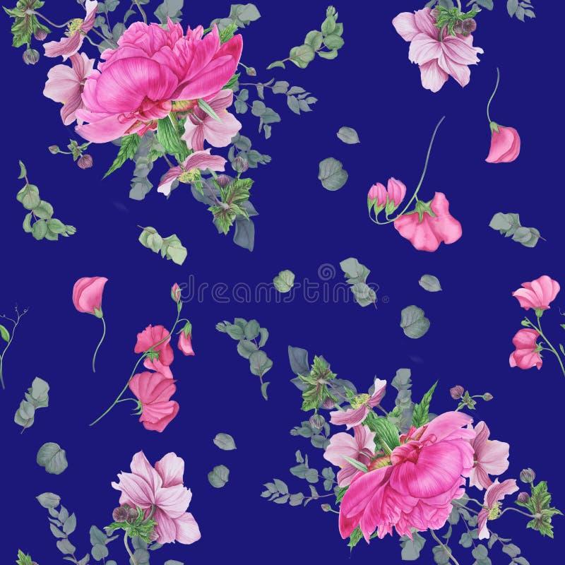 与桃红色牡丹、银莲花属、玉树和桃红色豌豆的无缝的花卉样式 向量例证