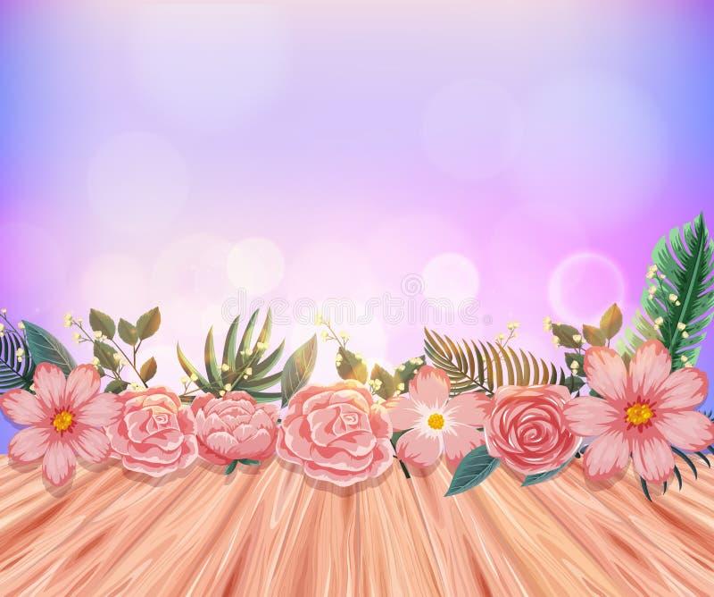 与桃红色玫瑰和木地板的背景 皇族释放例证