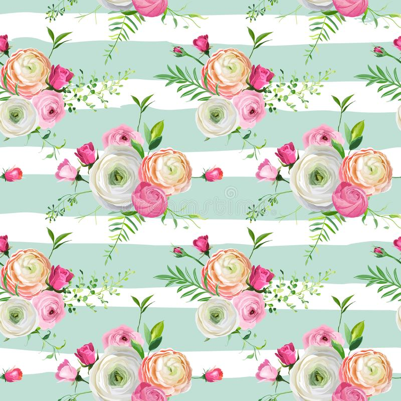 与桃红色玫瑰和毛茛属花的花卉无缝的样式 织品纺织品的,墙纸植物的背景 向量例证