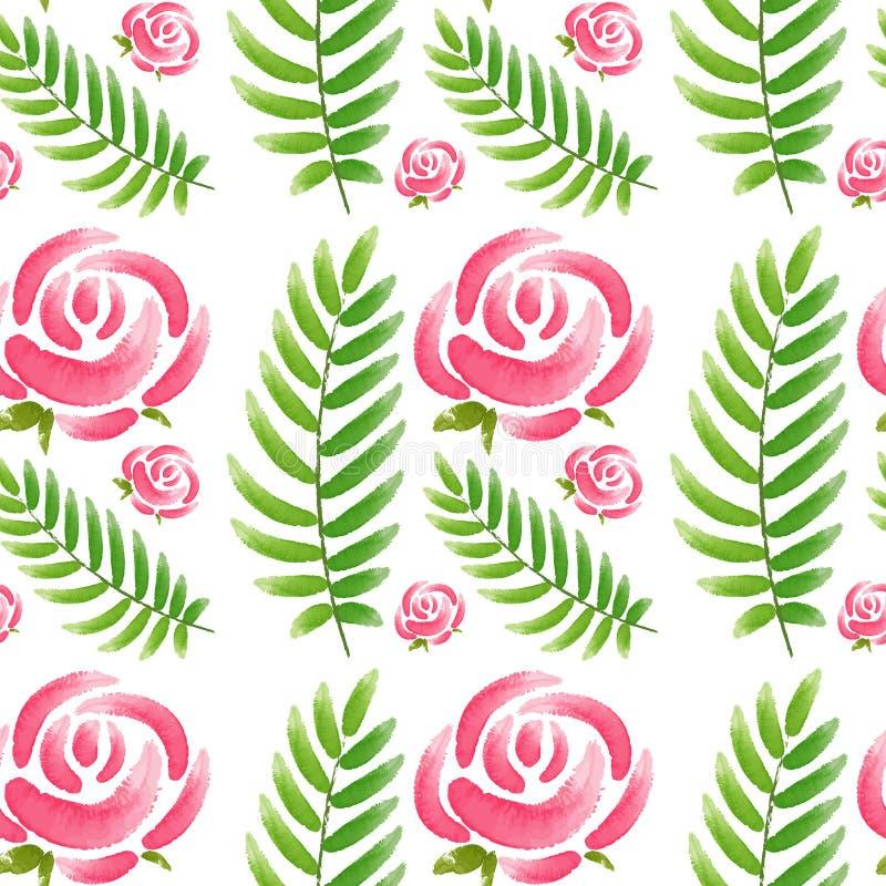 与桃红色玫瑰和绿色叶子的无缝的设计 皇族释放例证