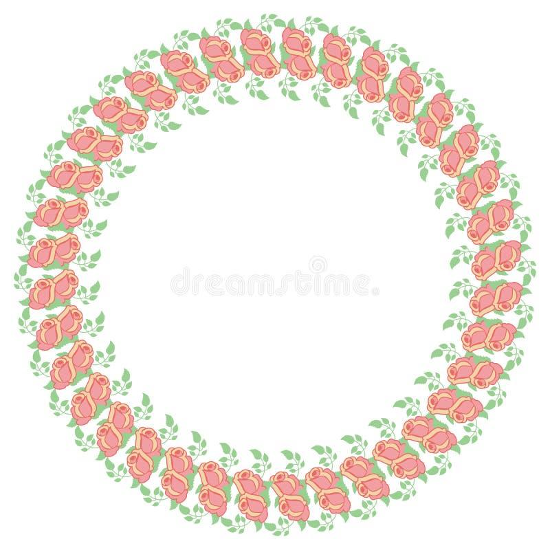 与桃红色玫瑰的圆的框架 复制空间 向量例证