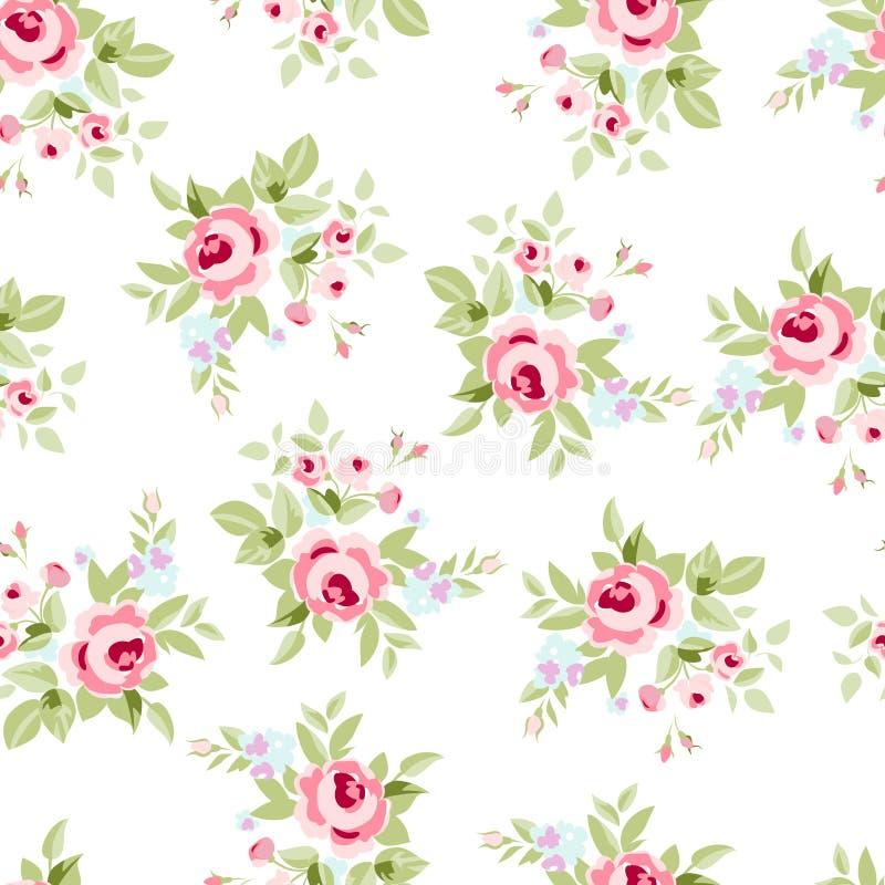 与桃红色玫瑰的无缝的花卉样式 向量例证
