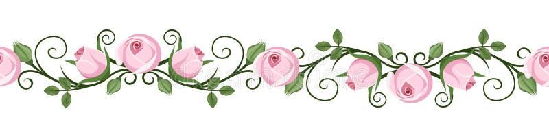 与桃红色玫瑰的葡萄酒水平的无缝的小插图发芽。传染媒介例证。 库存例证