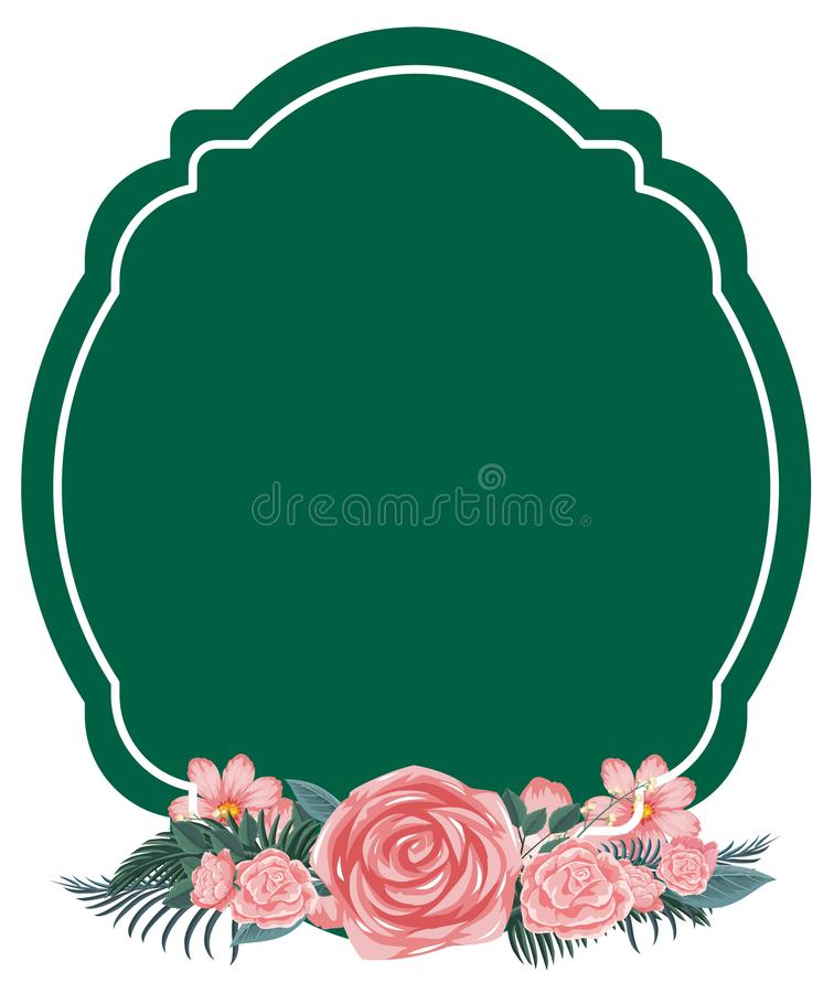 与桃红色玫瑰的边界模板 库存例证