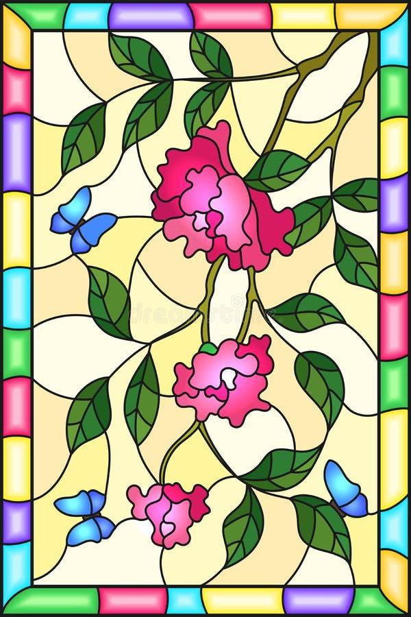 与桃红色玫瑰花、叶子和蓝色蝴蝶的彩色玻璃例证在框架的黄色背景 皇族释放例证