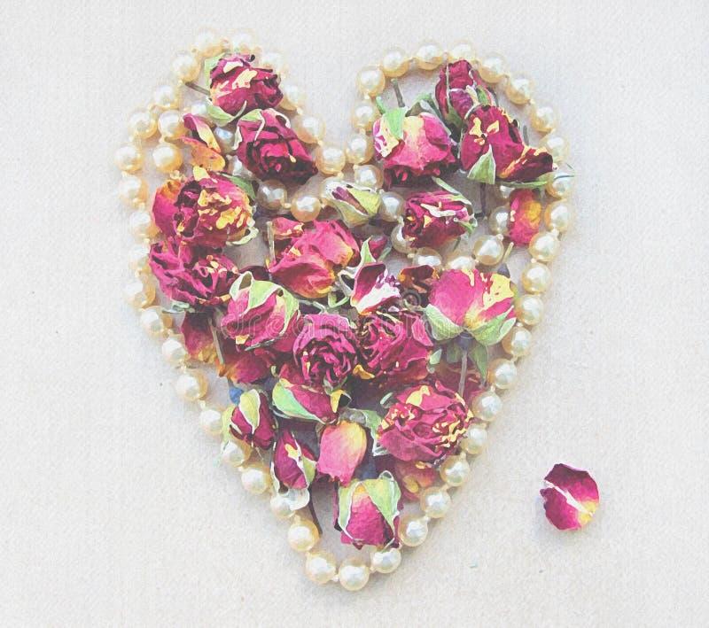 与桃红色玫瑰花蕾、瓣和心形的珍珠项链的柔和的背景在婚姻的装饰的白色 皇族释放例证