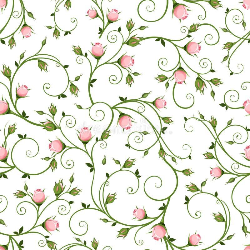 与桃红色玫瑰花蕾的无缝的花卉样式 也corel凹道例证向量 向量例证