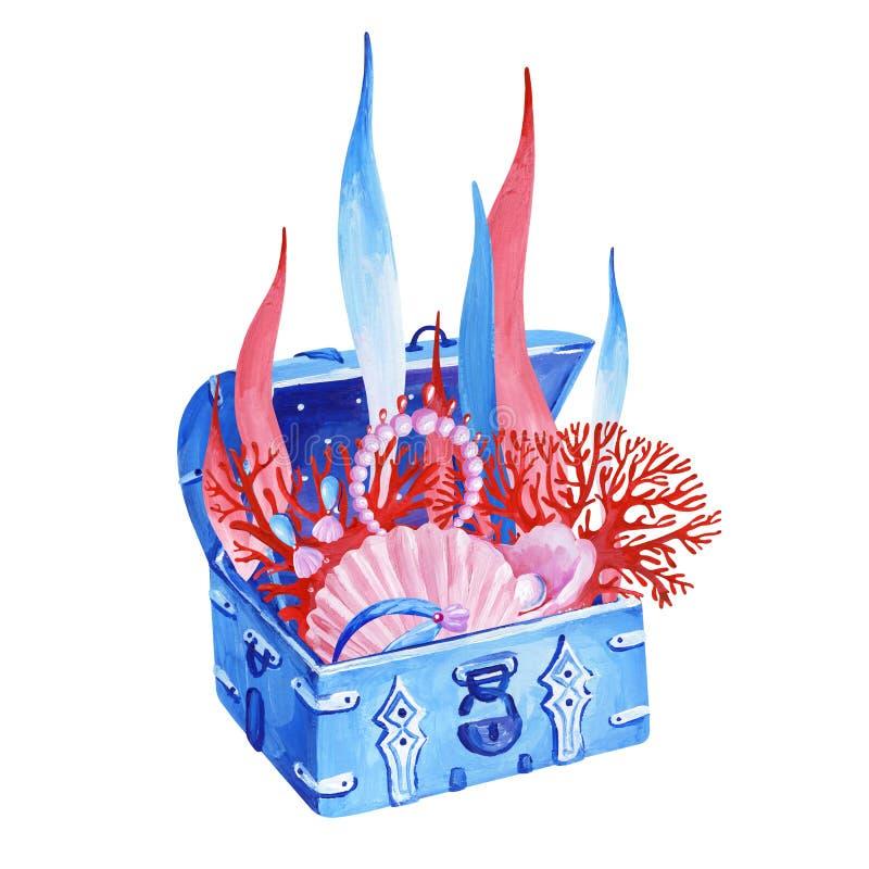 与桃红色珍宝、红珊瑚和aglae的树胶水彩画颜料海里的老蓝色胸口 向量例证
